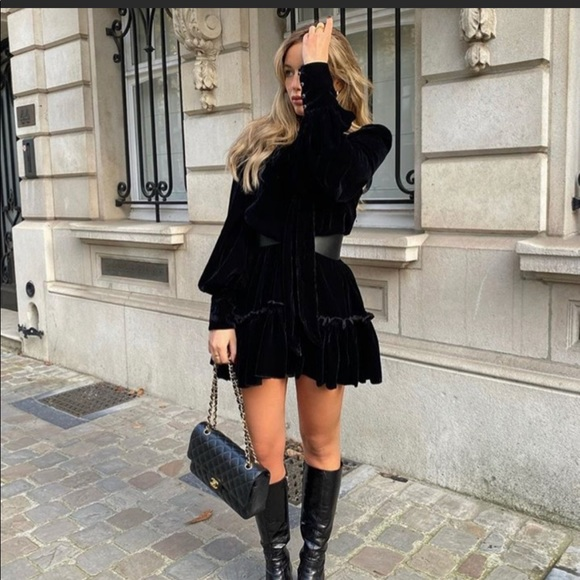 Hm x vampire wives velvet black mini dress med